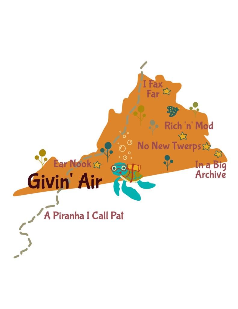Anagram map of Virginia.